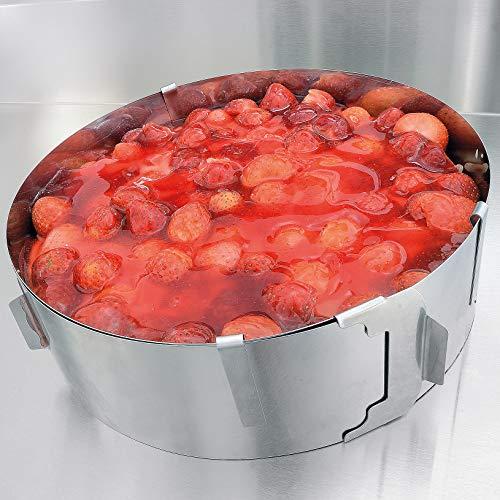 Tortenring – Ruckzuck leckere Creme- und Obsttorten zaubern – Edelstahl Tortenring verstellbar und fixierbar mit Klammern – 7,5cm hoch – Made in Germany