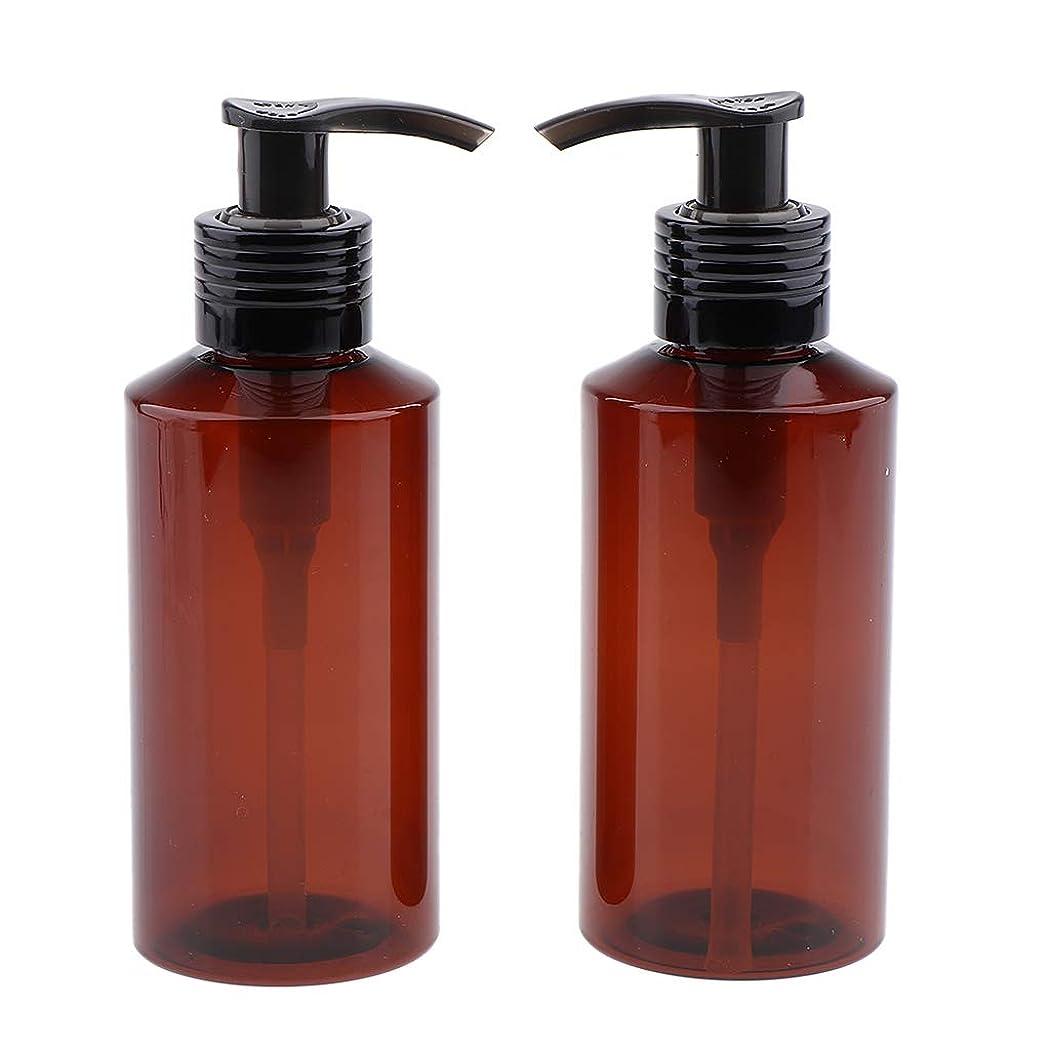蓮安全なアレキサンダーグラハムベルSM SunniMix 2本 シャンプーボトル 150ml ポンプボトル 詰め替え式 コンテナ 3色選べ - 褐色