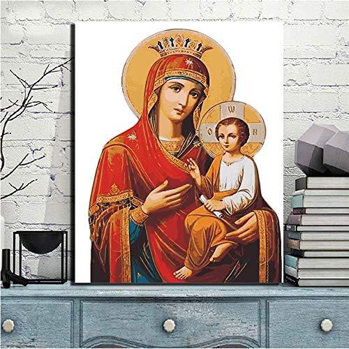 sanzangtang Jungfrau Maria und Jesus Leinwand Wandbild HD Jungfrau Maria Leinwand Christian Wandbild Poster rahmenlose Malerei 63cmX84cm