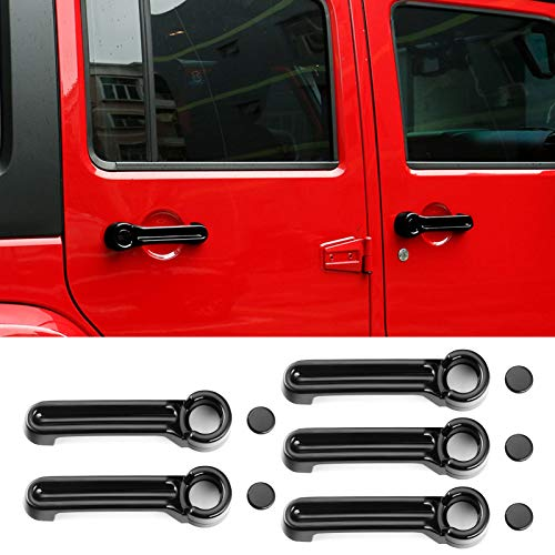 JeCar Door Handle Inserts Cover Kit & Tailgate Handle Cover for 2007-2018 Jeep Wrangler JK / 2008-2012 Jeep Liberty / 2007-2011 Dodge Nitro, Black