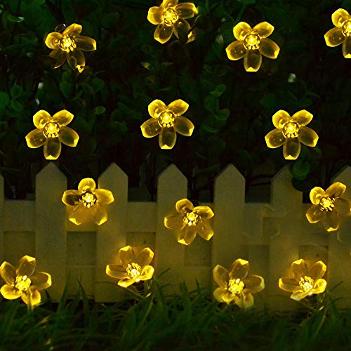 Solar Garden String Lights,Cshare Solar Powered Fairy Lights Outdoor 50 LED 22ft 8 Modes Waterproof Outdoor Flower String Lights for Yard,Christmas Tree,Home,Wedding,Party Decorations (Warm White)