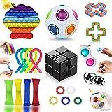 Fidget Toy Pack Barato, Pack Fidget Toys con Stress Ball y Simple, Fidget Toys Set Juguetes Antiestres Niños con Infinity Cube, Regalos para Niños, Antiestres Adultos, Niños Autismo (20 Piezas)