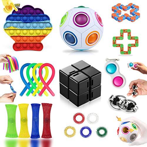 Fidget Toy Pack Barato, Pack Fidget Toys con Stress Ball y Simple Dimple, Fidget Toys Set Juguetes Antiestres Niños con Infinity Cube, Regalos para Niños, Antiestres Adultos, Niños Autismo (20 Piezas)