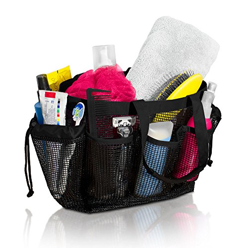 Simply Things Heavy Duty Mesh Shower Bag Caddy and Tote with 9 Storage Compartments and 2 Reinforced Handles, This Mesh Shower Bag is Quick Drying for Dorm, Gym, Camping, or Travel - (Black)