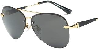 NALANDA Men's Retro Polarized Aviator Sunglasses With UV400 TAC Lens Half Metal Frame, Double Bridges Glasses For Outdoor ...
