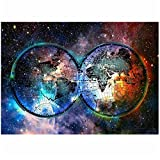 """Starry Sky Glasses Abstract Creative Poster Abstract Canvas Poster Wall Modern HD Print Frameless Wall Art 50x70cm/19.6""""x27.5""""/NoFrame"""