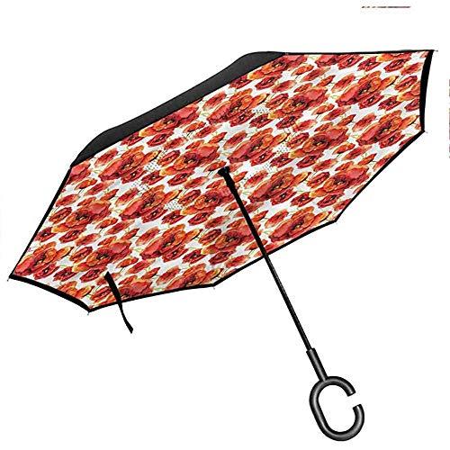 ETGeed Paraguas invertido Floral con Paraguas en Forma de C, Flores de Amapola roja artístico