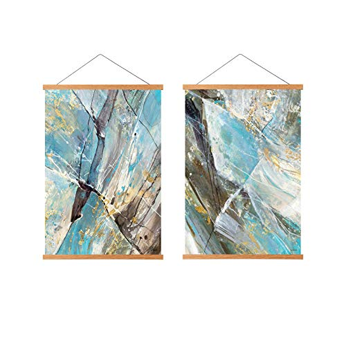 FALAMON 2 Pack Teak Wood Magnetic Poster Frame Hanger, 9x12 9x11 9x13 Magnet Poster Frame for Posters, Prints, Photos, Pictures, Maps, Scrolls, and Canvas Artwork