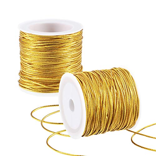 2 Rolls Metallic Elastic Cords Stretch Cord Ribbon Metallic Tinsel Cord Rope for Craft Making Gift Wrapping, 1 mm 55 Yards (Gold)
