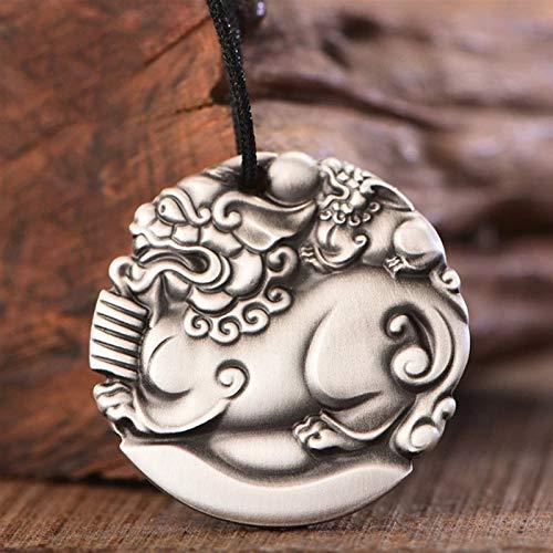 FOOSKOO Colgante Hombre Collares de Hombres Riqueza Amuleto Retro S999 Colgante de Plata Pura con Collares Colgantes de Cadena con Caja de Regalo