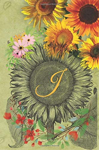 Vintage Sunflower Journal: monogram Letter J Sunflower Blank Lined Journal Notebook: For Women, Girls,Tenners, Mom,Nurse and Coworkers, to-do-list ... 6x 9 inches Cream Interior Pages,Writing Pad,