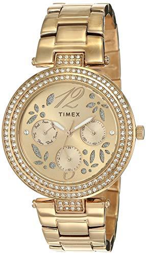 Timex Reloj analógico de mujer con esfera marrón -TWEL12003