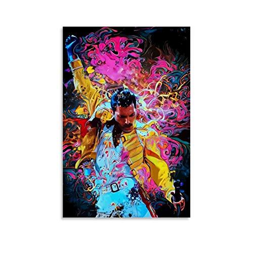 Shefei Freddie Mercury Poster decorativo su tela da parete per soggiorno, camera da letto, 40 x 60 cm