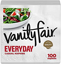 Vanity Fair Everyday Paper Napkins, 100 2-Ply Disposable Napkins, Dinner Size