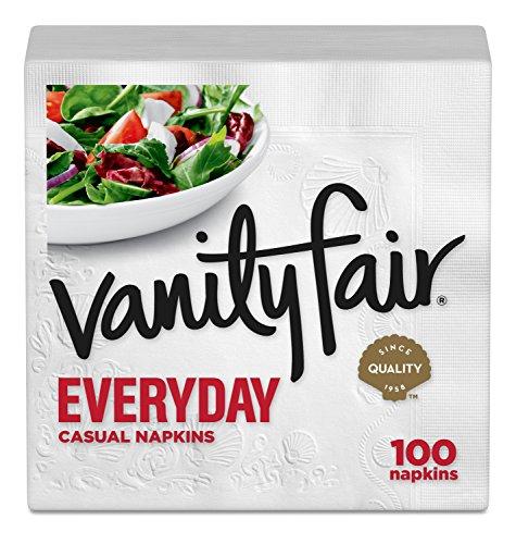 Vanity Fair Everyday Napkins, 100 Count, White Dinner Paper Napkins