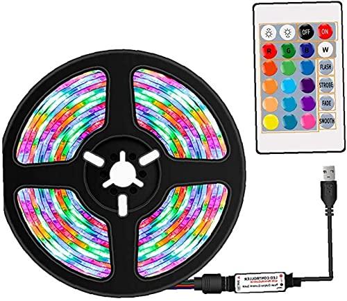 QHCS Lámpara de Cadena Tira de Luces LED Cinta de luz LED Tira RGB Control Remoto Impermeable 16 Colores Decoración para Fiestas, decoración del hogar, 2M Luces Decorativas para Exteriores