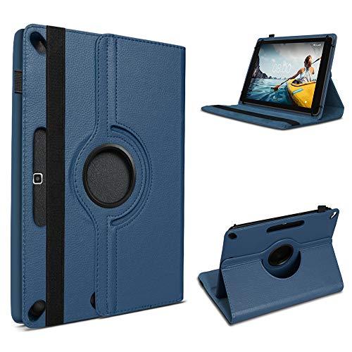 UC-Express Tablet Hülle kompatibel für Medion Lifetab E10430 E10714 E10414 E10604 E10412 E10511 E10513 E10501 Tasche Schutzhülle Cover 360° Drehbar, Farbe:Blau