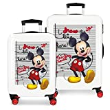 Disney Mickey Draw The Line Juego de Maletas Rojo 55/68 cms Rígida ABS Cierre combinación 104L 4 Ruedas Dobles Equipaje de Mano