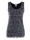Anna-Kaci Womens Casual Formal Embroidered Lace Sequin Sleeveless Shirt Tank Top, Black, X-Large