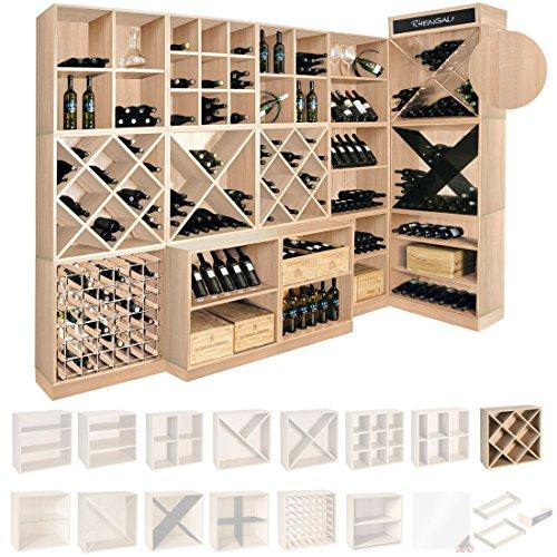 Weinregal/Flaschenregal System CAVEPRO, Regalmodul mit Rauten, Holz Melamin beschichtet, Eiche hell