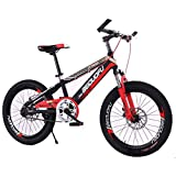 MUYU Bicicleta de montaña para niños Frenos de Disco Dobles Delanteros y Traseros Rueda de aleación de Aluminio,Red,20inch