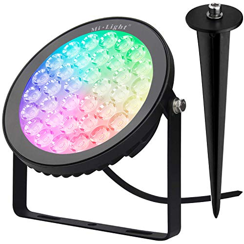Mi.Light 15W RGB+CCT Outdoor IP65 Waterproof LED Garden Landscape Spotlight AC 110V 16 Million Colors Changing,Color Temperature Adjustable with 1500Lumens,Remote Control Distance Limitless