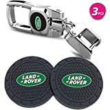 Vehicle Auto Cup Holder Insert Coaster Anti Slip Cup Mat and Car Keychain Combo Set Total 3pcs for Land Rover...