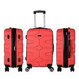 SHAIK SERIE RAZZER SH002 DESIGN PMI Hartschalen Kofferset, Trolley, Koffer, Reisekoffer, 4 Doppelrollen, 25% mehr Volumen durch Dehnfalte (Rot, M - Handgepäck)