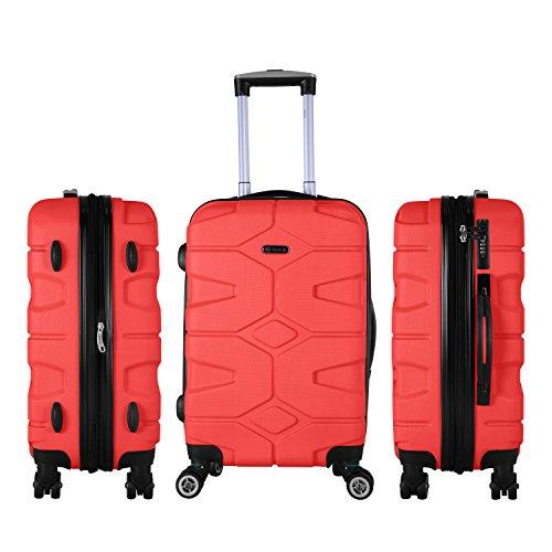 SHAIK® SERIE RAZZER SH002 DESIGN PMI Hartschalen Kofferset, Trolley, Koffer, Reisekoffer, 4 Doppelrollen, 25% mehr Volumen durch Dehnfalte (Rot, M - Handgepäck)