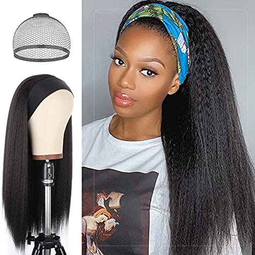 Vinieesha Kinky Straight Headband Wigs for Black Women Long Black Wig, Yaki Straight Synthetic Human Hair Wigs, with Black Headband None Lace Front for Daily Party Use, 150% Density 24 inch