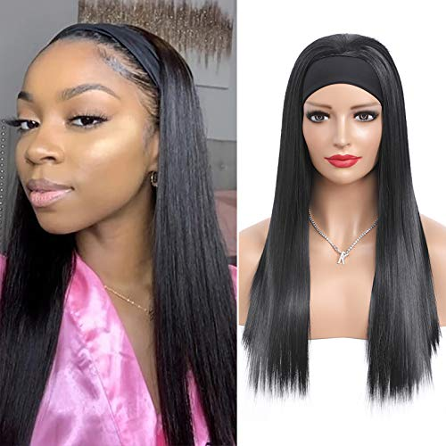 20Inch Headband Wigs for Black Women Long Straight Synthetic Hair Wig None Lace Front Glueless Headband Wig for Daily Use Party Office Beginner Friendly, Natural Black+Free Gifts