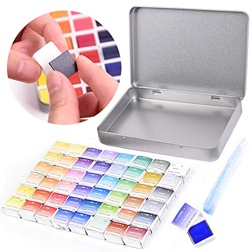 45 Assorted Watercolor Paint Travel Set - Half Pan Refills Solid Pigment Magnetic Stripe with Metal Box Case, Water Color Paint Kit for Artists Beginners DIY Watercolor Paintings, Coloring, Drawing
