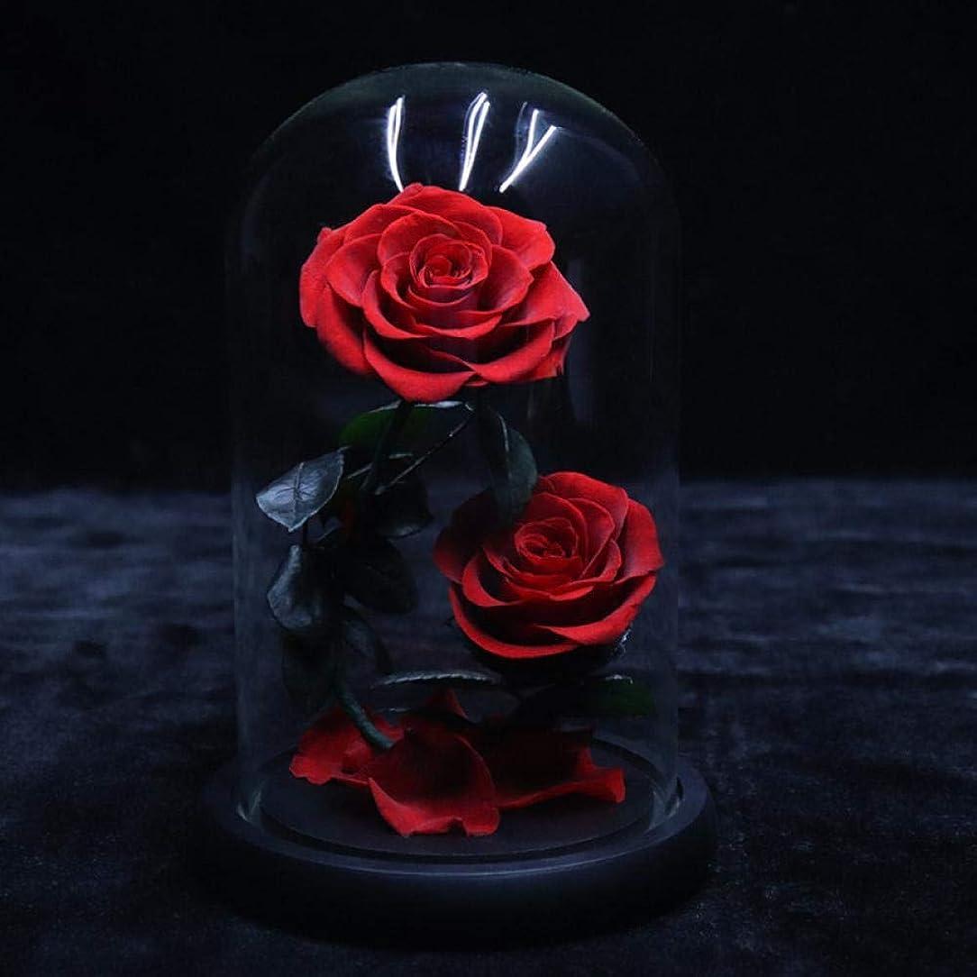 エジプト人波紋シールドBATWATY プリザーブドフラワーは、新鮮なガラスドームバレンタインデー結婚式母の日記念日誕生日の感謝祭、クリスマス、赤に花永遠の花バラ永遠のバラを保存しました 母の日のプレゼント