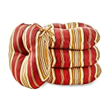 Greendale Home Fashions 15 in. Round Outdoor Bistro Chair Cushion (set of 4), Roma Stripe