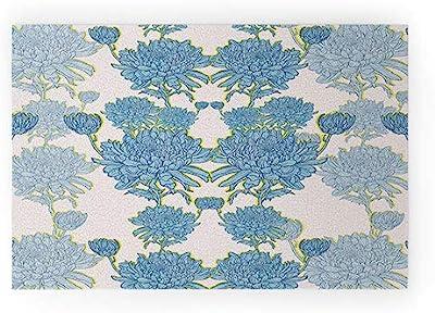 "Society6 Blue Sewzinski Chysanthemum Welcome Mat, 30"" x 20"""