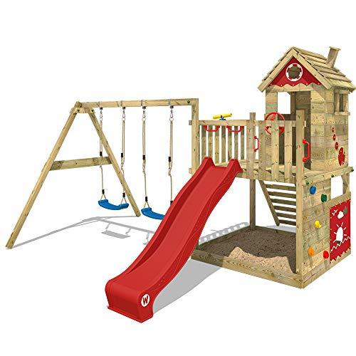 WICKEY Parque infantil de madera Smart Lodge 120 con columpio y tobogán rojo, Casa de juegos de jardin con arenero y escalera para niños