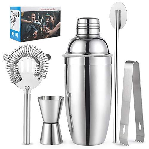 Set shaker per cocktail in acciaio inox, shaker, jigger, cucchiaio, colino, pinza per ghiaccio, accessori per cocktail (550 ml) 550 ml argento