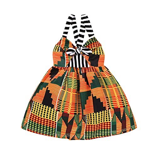YOUNGER TREE Toddler Baby Girl Summer Dress African Style Sleeveless Backless Strap Skirt Girls Casual Sundress (African Style, 12-18 M)