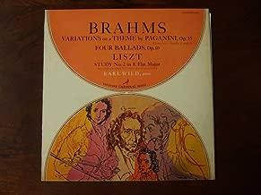 Earl Wild piano Brahms Variations on a Theme by Paganini Four Ballads & Liszt Study No. 2 vinyl