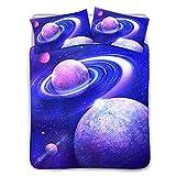 Poceacles Weltraum-Planeten-Druck-Bettwäsche-Set für Kinder, modisch, gemütlich, leicht, 1...