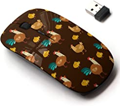 2.4G Wireless Mouse with Cute Pattern Design for All Laptops and Desktops with Nano Receiver - Cute Brown Different Chicken