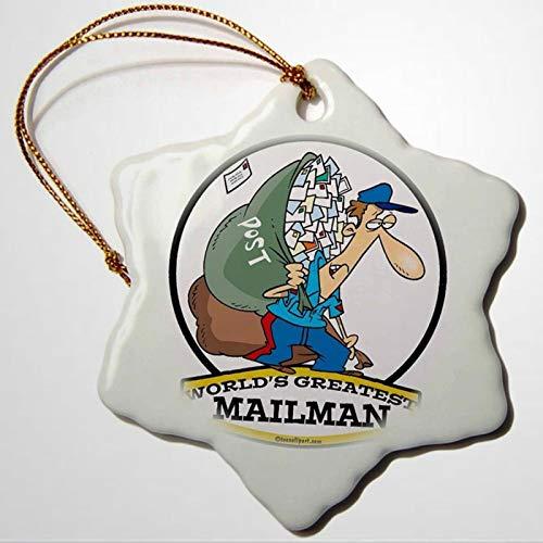 BYRON HOYLE Funny Worlds Greatest Mailman Occupation Job Cartoon Snowflake Ornament Porcelain Christmas Ornaments Pandemic Xmas Decor Wedding Ornament Holiday Present
