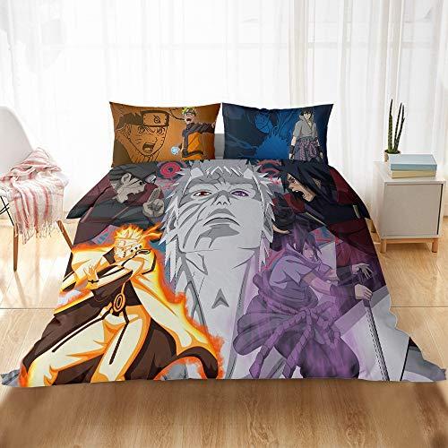 BMKJ Naruto Juego de ropa de cama infantil, 1 funda nórdica + 2 fundas de almohada de 50 x 75 cm (3TLG.220 x 240 cm + 2 x 50 x 75 cm, N12)