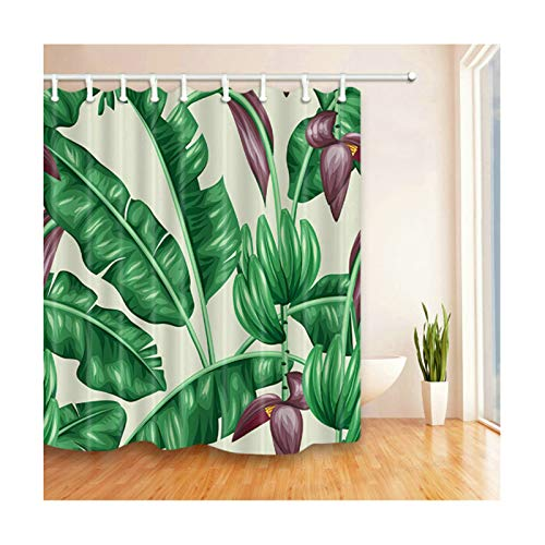 Daesar Vintage Duschvorhang aus Polyester-Stoff Bananenblatt Antischimmel 3D Duschvorhang 180x210 cm