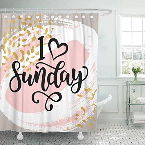 Crochets de rideau de douche en tissu imperméable I Love Sunday Citation de lettrage de motivation pour les employés de bureau Début de la semaine Brosse noire moderne Salle de bain extra longue Inodo