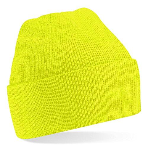 Beechfield, Acryl-Strickmütze für Erwachsene, zum Aufschlagen, Unisex Einheitsgröße fluoreszierendes gelb