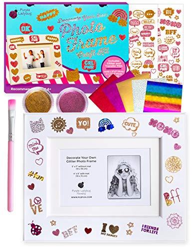 Purple Ladybug Kit de Diseño de Marco Fotos para Niñas – Decora un Marco de Madera Blanco con Purpurina Láminas Decorativas y Pegatinas Modernas – Regalos Originales y Divertidas Manualidades Niños