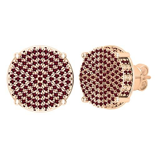 Dazzlingrock Collection Pendientes redondos de 0,50 quilates de diamante rojo redondo con forma de círculo pavimentado a presión para mujer de 1/2 quilates | oro rosa de 14 quilates