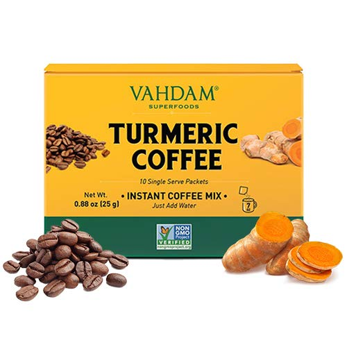 VAHDAM, Kurkuma + Kaffee Superfood Elixir Mix Pulver - 10 Portionen | Instantkaffeemischung mit Kurkuma | kurkuma latte| Arabica Kaffee gemischt mit Kurkuma Vegan, Keto-freundlich, gentechnikfrei