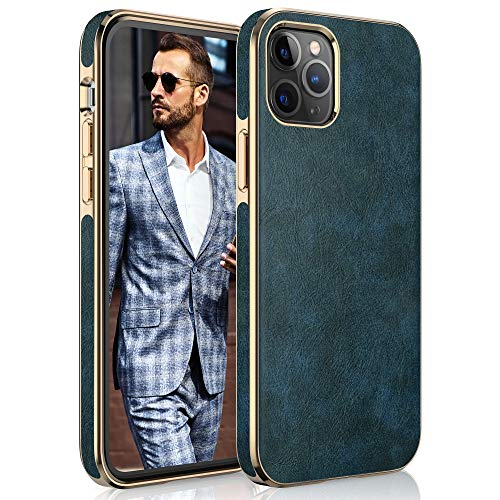 """LOHASIC for iPhone 12 Pro Max Leather Case, Slim Luxury PU Soft Flexible Bumper Non-Slip Grip Anti-Scratch Full Body Protective Cover Cases Compatible with iPhone 12 Pro Max 6.7"""" (2020) - Vintage Blue"""